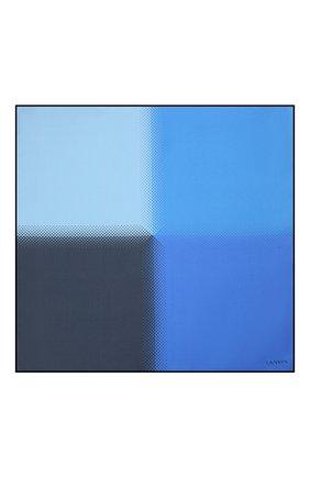 Мужской шелковый платок LANVIN синего цвета, арт. 2809/HANDKERCHIEF   Фото 3