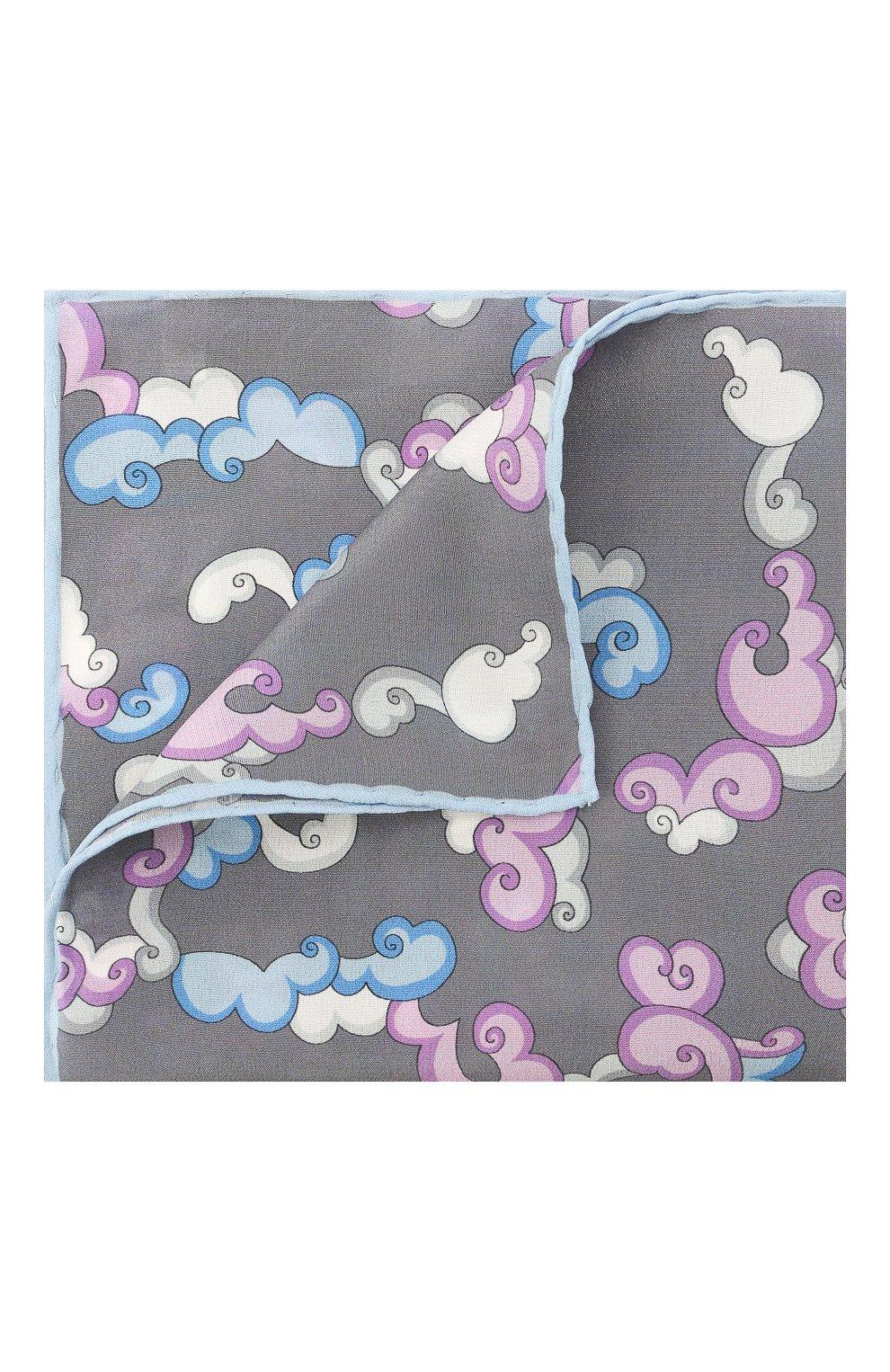 Мужской шелковый платок LANVIN серого цвета, арт. 2815/HANDKERCHIEF   Фото 1