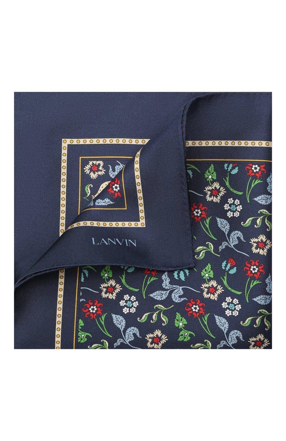 Мужской шелковый платок LANVIN темно-синего цвета, арт. 2830/HANDKERCHIEF   Фото 1