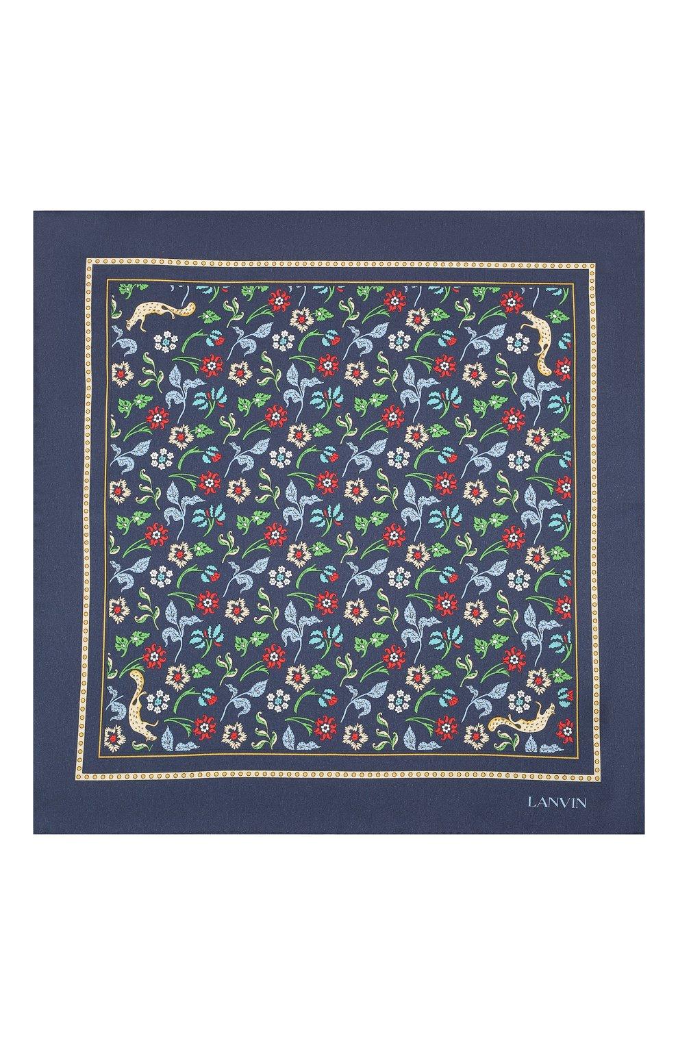 Мужской шелковый платок LANVIN темно-синего цвета, арт. 2830/HANDKERCHIEF   Фото 3