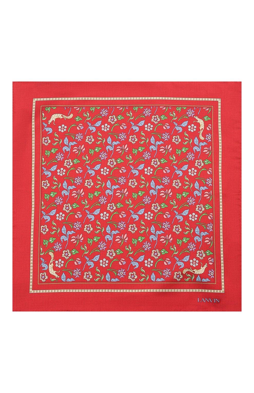 Мужской шелковый платок LANVIN красного цвета, арт. 2830/HANDKERCHIEF | Фото 3