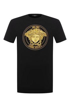 Мужская хлопковая футболка VERSACE черного цвета, арт. A89288/A228806 | Фото 1 (Рукава: Короткие; Длина (для топов): Стандартные; Материал внешний: Хлопок; Принт: С принтом; Стили: Кэжуэл)
