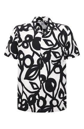 Мужская хлопковая рубашка ASPESI черно-белого цвета, арт. S1 A CE63 F288 | Фото 1 (Материал внешний: Хлопок; Рукава: Короткие; Длина (для топов): Стандартные; Случай: Повседневный; Принт: С принтом; Воротник: Отложной; Стили: Кэжуэл)