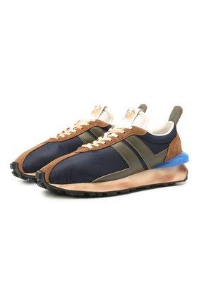 Мужские комбинированные кроссовки LANVIN темно-синего цвета, арт. FM-SKBRUN-NYL1-P21 | Фото 1