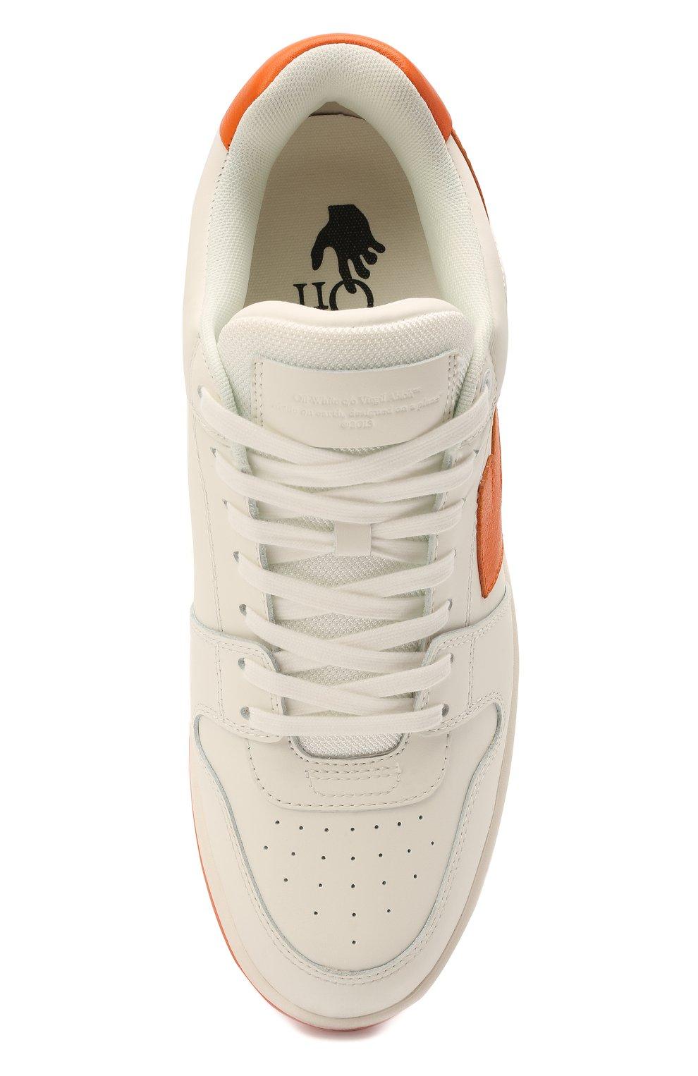 Мужские кожаные кеды out of office OFF-WHITE белого цвета, арт. 0MIA189R21LEA0030120   Фото 5 (Материал внешний: Кожа; Материал внутренний: Текстиль; Подошва: Массивная)