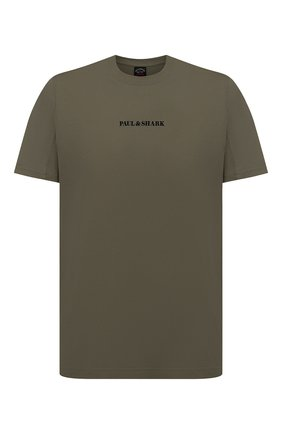 Мужская хлопковая футболка PAUL&SHARK хаки цвета, арт. 21411051/C00 | Фото 1
