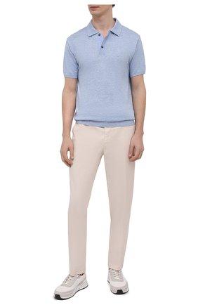 Мужское поло изо льна и хлопка PAUL&SHARK голубого цвета, арт. 21411623/GEC   Фото 2