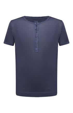 Мужская льняная футболка 120% LINO темно-синего цвета, арт. T0M7672/E908/S00 | Фото 1