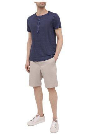 Мужская льняная футболка 120% LINO темно-синего цвета, арт. T0M7672/E908/S00 | Фото 2
