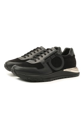 Мужские комбинированные кроссовки SALVATORE FERRAGAMO черного цвета, арт. Z-07170453E | Фото 1