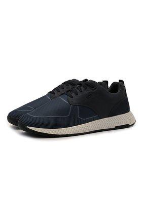 Мужские комбинированные кроссовки BOSS синего цвета, арт. 50446667   Фото 1