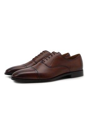 Мужские кожаные оксфорды BOSS коричневого цвета, арт. 50446515 | Фото 1 (Стили: Классический)