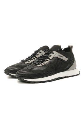 Мужские кроссовки HUGO черного цвета, арт. 50445696 | Фото 1 (Материал внешний: Текстиль; Подошва: Массивная; Материал внутренний: Текстиль; Стили: Спорт)