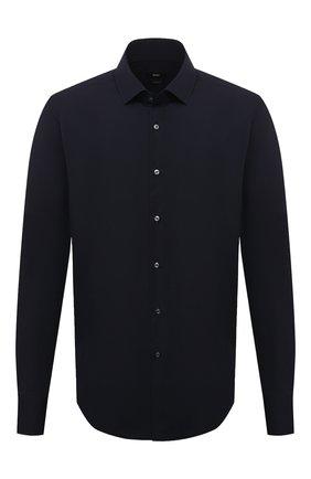 Мужская хлопковая сорочка BOSS темно-синего цвета, арт. 50420214   Фото 1