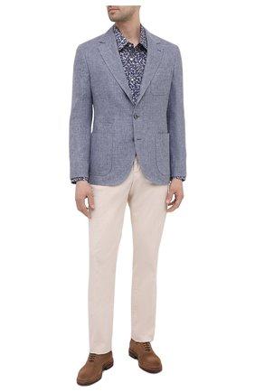 Мужская хлопковая сорочка BOSS синего цвета, арт. 50450327   Фото 2