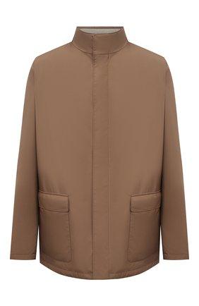 Мужская куртка LORO PIANA коричневого цвета, арт. FAI1016   Фото 1 (Рукава: Длинные; Материал внешний: Синтетический материал; Длина (верхняя одежда): До середины бедра; Материал подклада: Хлопок; Кросс-КТ: Куртка, Ветровка; Стили: Кэжуэл)