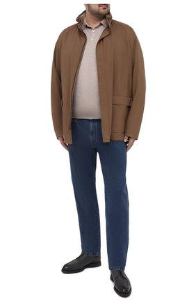 Мужская куртка LORO PIANA коричневого цвета, арт. FAI1016   Фото 2 (Рукава: Длинные; Материал внешний: Синтетический материал; Длина (верхняя одежда): До середины бедра; Материал подклада: Хлопок; Кросс-КТ: Куртка, Ветровка; Стили: Кэжуэл)