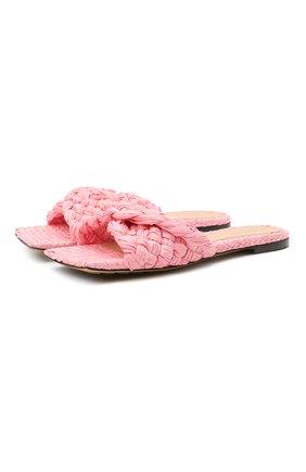 Женские текстильные шлепанцы stretch BOTTEGA VENETA розового цвета, арт. 652860/V0GM0 | Фото 1