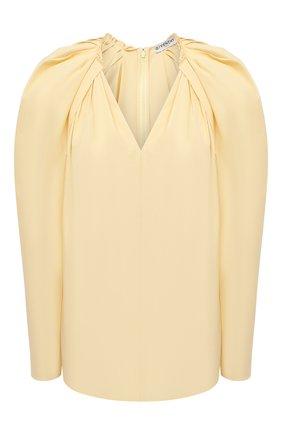 Женская хлопковая блузка GIVENCHY желтого цвета, арт. BW60RP111N | Фото 1 (Рукава: Длинные; Материал внешний: Хлопок; Длина (для топов): Стандартные; Стили: Романтичный; Женское Кросс-КТ: Блуза-одежда; Принт: Без принта)