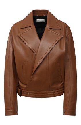 Женская кожаная куртка SAINT LAURENT коричневого цвета, арт. 644265/Y50A2 | Фото 1