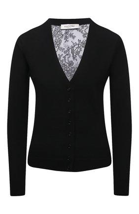 Женский шерстяной кардиган VALENTINO черного цвета, арт. VB3KA01Q653   Фото 1