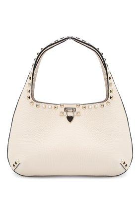 Женская сумка rockstud hobo small VALENTINO светло-бежевого цвета, арт. VW0B0I25/VSF | Фото 1 (Материал: Натуральная кожа; Размер: small; Сумки-технические: Сумки top-handle)