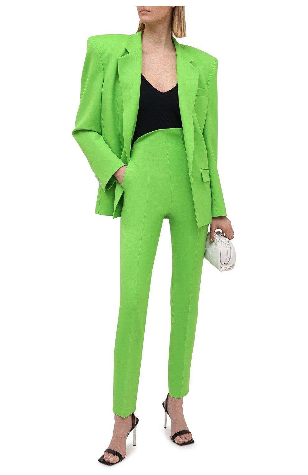 Женские шерстяные брюки THE ATTICO зеленого цвета, арт. 211WCP24/W009 | Фото 2