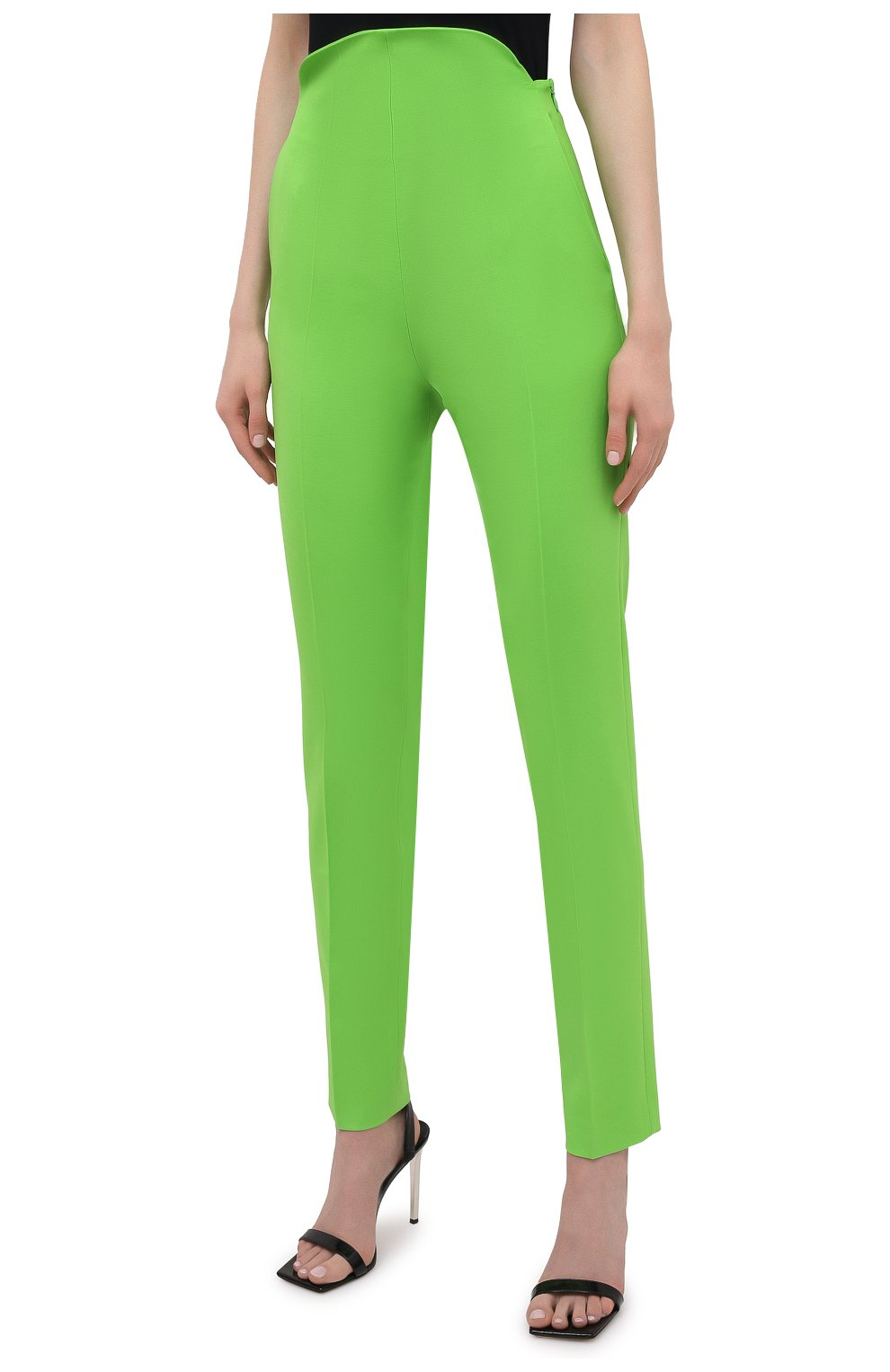 Женские шерстяные брюки THE ATTICO зеленого цвета, арт. 211WCP24/W009 | Фото 3