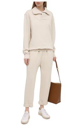 Женские хлопковые брюки LES TIEN светло-бежевого цвета, арт. CF-3007 | Фото 2