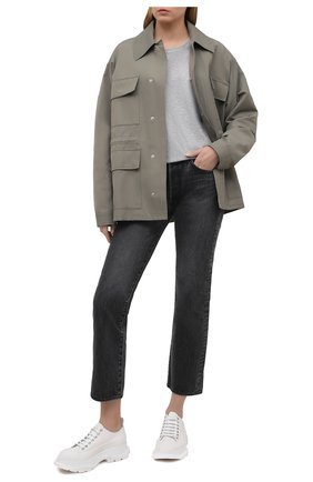 Женская хлопковая футболка DRIES VAN NOTEN серого цвета, арт. 211-11150-2600 | Фото 2