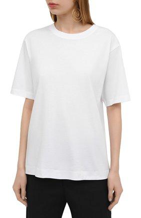 Женская хлопковая футболка DRIES VAN NOTEN белого цвета, арт. 211-11150-2600 | Фото 3 (Принт: Без принта; Рукава: Короткие; Длина (для топов): Стандартные; Материал внешний: Хлопок; Женское Кросс-КТ: Футболка-одежда; Стили: Кэжуэл)