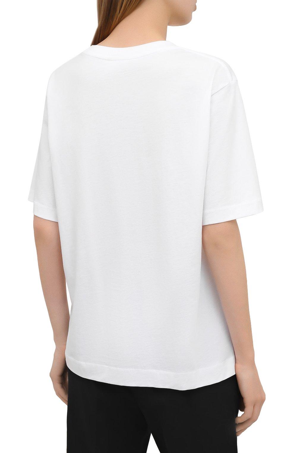 Женская хлопковая футболка DRIES VAN NOTEN белого цвета, арт. 211-11150-2600 | Фото 4 (Принт: Без принта; Рукава: Короткие; Длина (для топов): Стандартные; Материал внешний: Хлопок; Женское Кросс-КТ: Футболка-одежда; Стили: Кэжуэл)