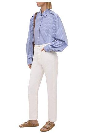 Женская хлопковая рубашка DRIES VAN NOTEN голубого цвета, арт. 211-10771-2160 | Фото 2