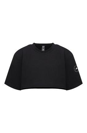 Женский хлопковая футболка ADIDAS BY STELLA MCCARTNEY черного цвета, арт. GL7340 | Фото 1