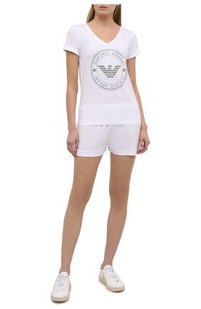 Женская хлопковая пижама EMPORIO ARMANI белого цвета, арт. 164448/1P255 | Фото 1