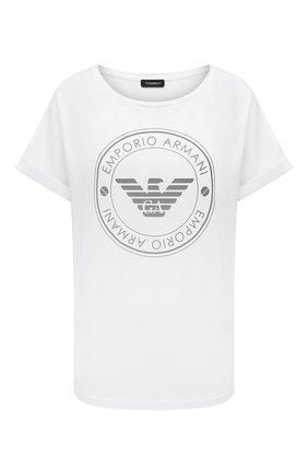 Женская хлопковая футболка EMPORIO ARMANI белого цвета, арт. 164340/1P255 | Фото 1
