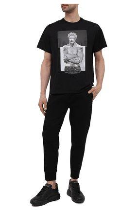 Мужская хлопковая футболка NEIL BARRETT черного цвета, арт. PBJT915S/Q533S | Фото 2