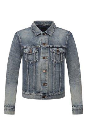 Мужская джинсовая куртка SAINT LAURENT синего цвета, арт. 597085/Y502V | Фото 1 (Материал внешний: Хлопок, Деним; Рукава: Длинные; Длина (верхняя одежда): Короткие; Кросс-КТ: Куртка, Деним; Стили: Кэжуэл)