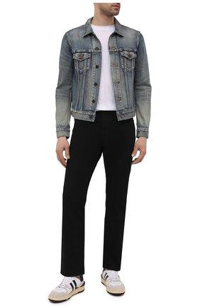 Мужская джинсовая куртка SAINT LAURENT синего цвета, арт. 597085/Y502V | Фото 2 (Материал внешний: Хлопок, Деним; Рукава: Длинные; Длина (верхняя одежда): Короткие; Кросс-КТ: Куртка, Деним; Стили: Кэжуэл)