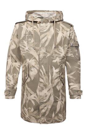 Мужская парка из хлопка и льна SAINT LAURENT хаки цвета, арт. 645595/Y2C80   Фото 1 (Рукава: Длинные; Материал внешний: Хлопок; Длина (верхняя одежда): До середины бедра; Кросс-КТ: Куртка; Стили: Кэжуэл)