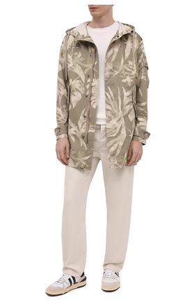Мужская парка из хлопка и льна SAINT LAURENT хаки цвета, арт. 645595/Y2C80   Фото 2 (Рукава: Длинные; Материал внешний: Хлопок; Длина (верхняя одежда): До середины бедра; Кросс-КТ: Куртка; Стили: Кэжуэл)