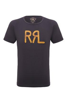 Мужская хлопковая футболка RRL темно-серого цвета, арт. 782813037 | Фото 1