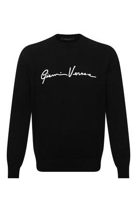 Мужской хлопковый свитер VERSACE черного цвета, арт. A85006/A232493 | Фото 1