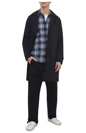Мужской утепленный плащ ASPESI темно-синего цвета, арт. S1 I I108 F973 | Фото 2 (Мужское Кросс-КТ: Плащ-верхняя одежда; Рукава: Длинные; Длина (верхняя одежда): До середины бедра; Материал внешний: Синтетический материал; Материал подклада: Синтетический материал; Стили: Кэжуэл)
