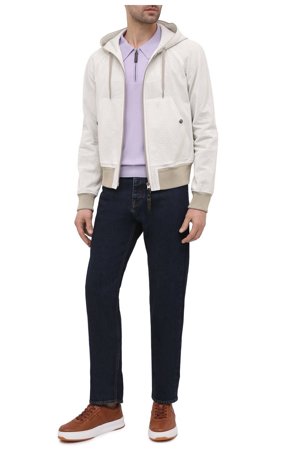 Мужские кожаные кеды TOD'S коричневого цвета, арт. XXM79B0BS10DVR | Фото 2 (Материал внутренний: Натуральная кожа; Подошва: Массивная)