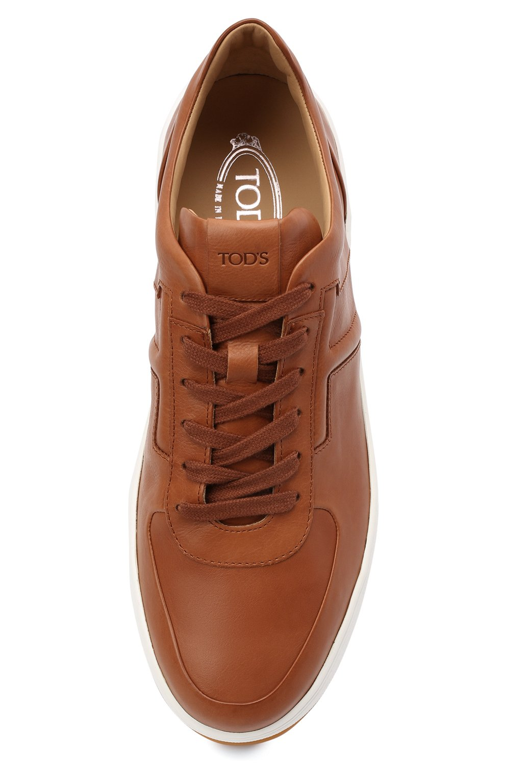 Мужские кожаные кеды TOD'S коричневого цвета, арт. XXM79B0BS10DVR | Фото 5 (Материал внутренний: Натуральная кожа; Подошва: Массивная)