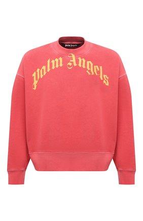 Мужской хлопковый свитшот PALM ANGELS красного цвета, арт. PMBA026R21FLE0062518 | Фото 1 (Длина (для топов): Стандартные; Рукава: Длинные; Материал внешний: Хлопок; Принт: С принтом; Мужское Кросс-КТ: свитшот-одежда; Стили: Гранж)