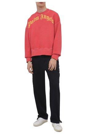 Мужской хлопковый свитшот PALM ANGELS красного цвета, арт. PMBA026R21FLE0062518 | Фото 2 (Длина (для топов): Стандартные; Рукава: Длинные; Материал внешний: Хлопок; Принт: С принтом; Мужское Кросс-КТ: свитшот-одежда; Стили: Гранж)