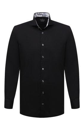 Мужская хлопковая сорочка VAN LAACK черного цвета, арт. RES0-SF05C1N/150018 | Фото 1 (Материал внешний: Хлопок; Длина (для топов): Стандартные; Рукава: Длинные; Случай: Формальный; Рубашки М: Slim Fit; Стили: Классический; Воротник: Акула; Манжеты: На пуговицах; Принт: Однотонные)
