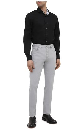 Мужская хлопковая сорочка VAN LAACK черного цвета, арт. RES0-SF05C1N/150018 | Фото 2 (Материал внешний: Хлопок; Длина (для топов): Стандартные; Рукава: Длинные; Случай: Формальный; Рубашки М: Slim Fit; Стили: Классический; Воротник: Акула; Манжеты: На пуговицах; Принт: Однотонные)
